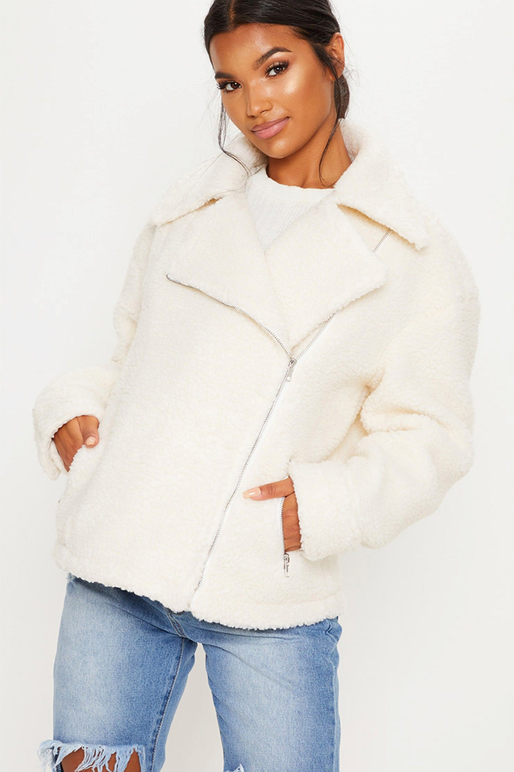 enjoy discount price get cheap quality and quantity assured Buy PrettyLittleThing Teddy Aviator Jacket from Next USA ...