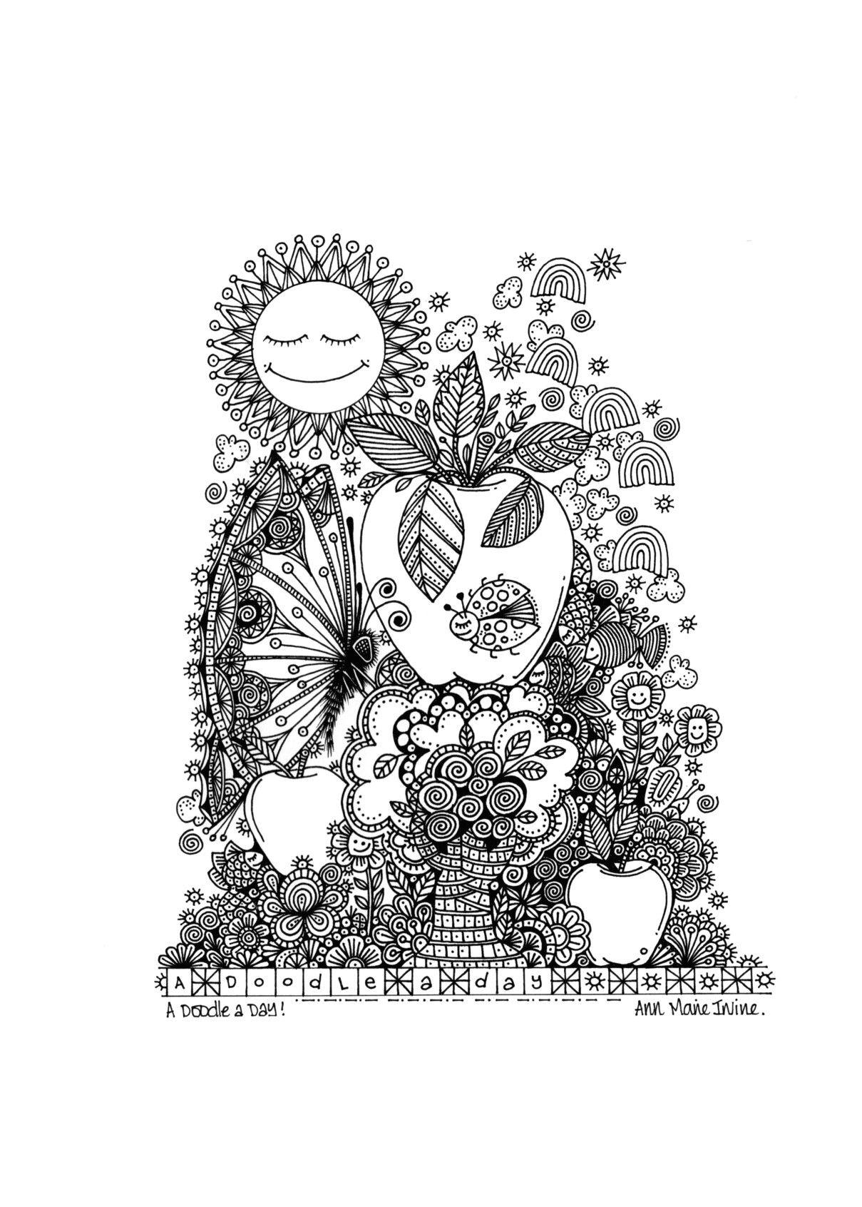 Encantador Dibujos Para Colorear Frutas Manzana | Colore Ar La Imagen
