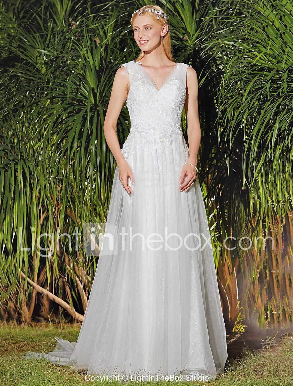Handmade wedding dress  ALine V Neck Sweep  Brush Train Lace Tulle Custom Wedding Dresses