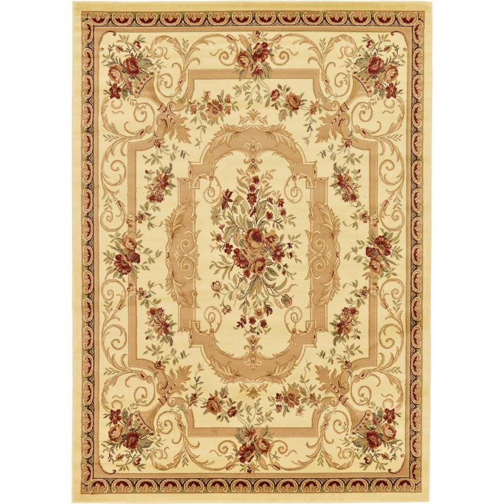 23 Charming Beige Living Room Design Ideas To Brighten Up: Unique Loom Versailles Henry Ivory 8' 0 X 11' 4 Area Rug