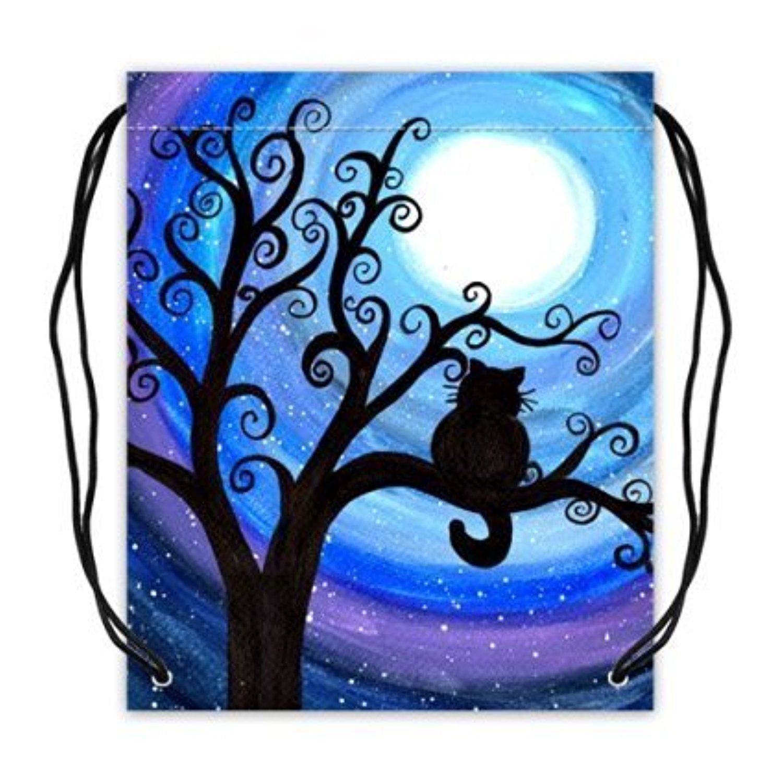 Custom Midnight Cat With the Moon Basketball Draws