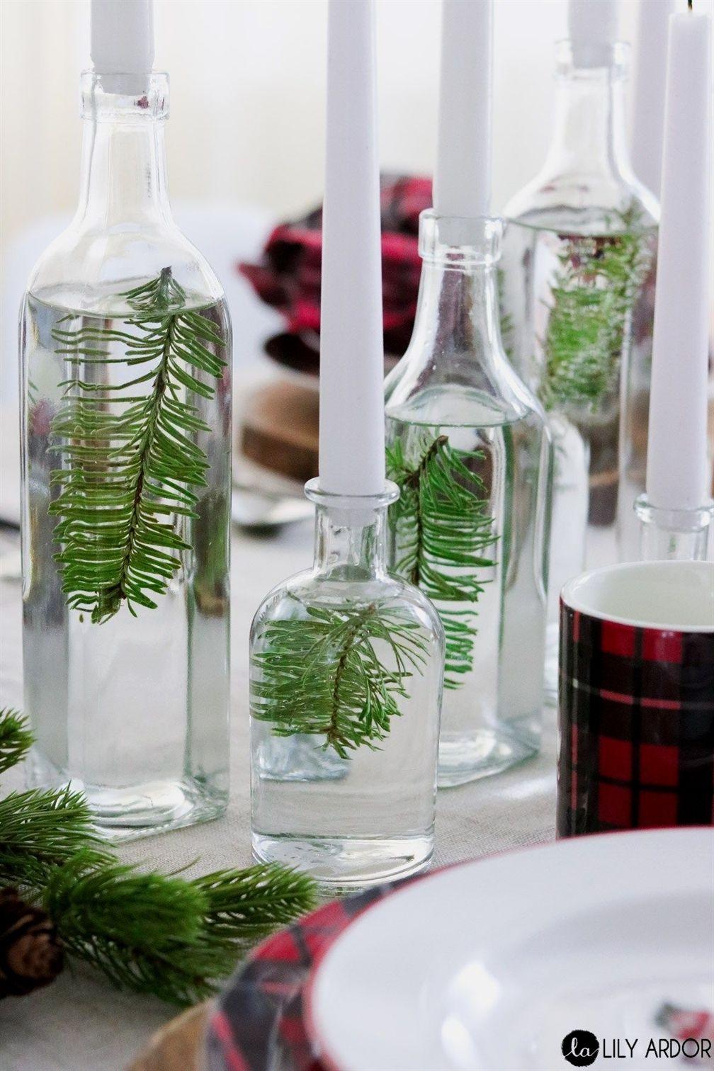 diy minimalist evergreen table decor christmastabledecorations rh pinterest com