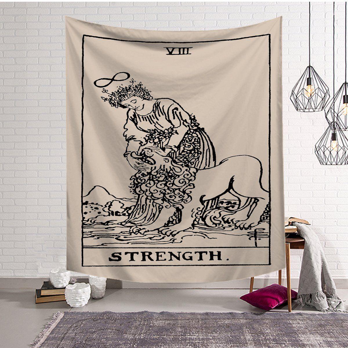 Strength tarot card tapestry altar cloth dorm
