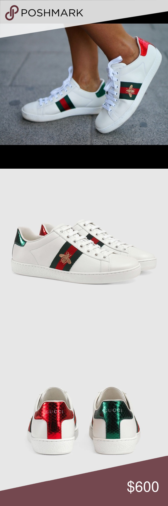 80557d924 Authentic Brand New Gucci ACE sneakers Authentic Brand New Gucci ACE  sneakers   White leather with green and red Web and gold thread-embroidered  bee ...