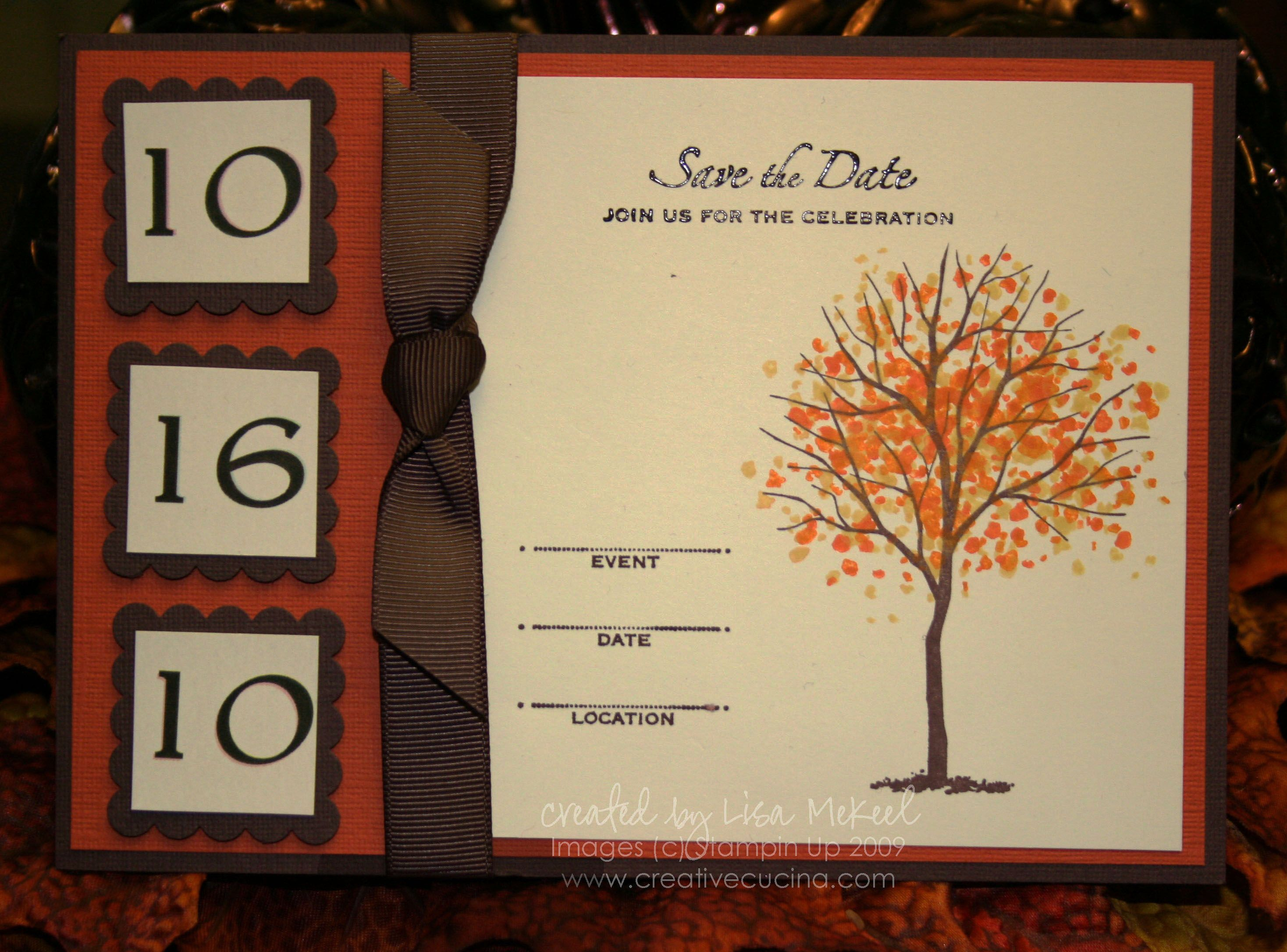 sample wording for save the date wedding cards%0A Branch Out Fall Autumn Wedding Save the Date or Invitation