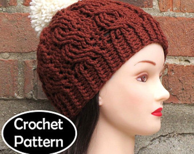 CROCHET HAT PATTERN Instant Download - Aubrey Cabled Beanie Hat ...