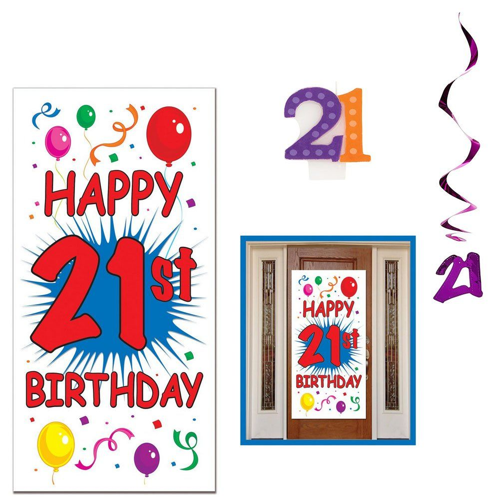 Happy 21st Birthday Party Decorations Party Pack | 1' Happy 21st Birthday!' Door Cover Decoration, 5'21' Hanging Swirls, and 1 Molded'21' Birthday Candle | 21st Birthday Decorations -- Check out this great product. (This is an affiliate link) #birthdaycandles #21stbirthdaydecorations