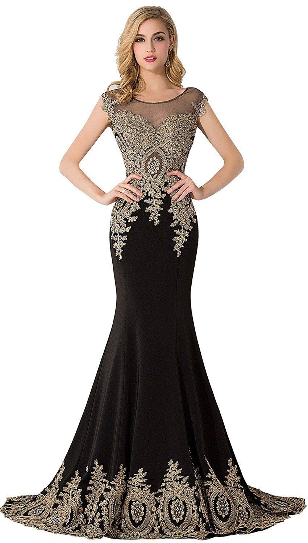 Trumpet Long Evening Dress Lace Beads Black | ! ♥ Fashion......Love ...