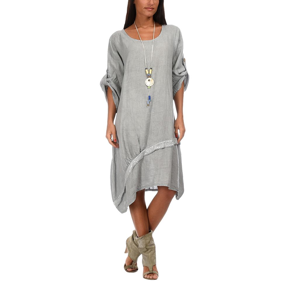 Oceane Dress | Grey by Best of Couleur Lin on Brands Exclusive ...