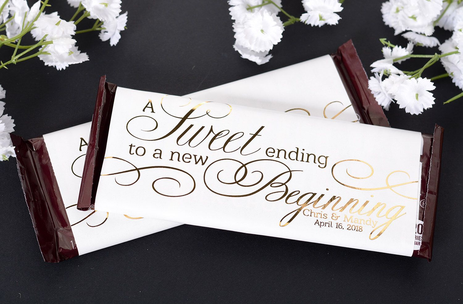 Wedding Candy Wrappers 25 Metallic Foil