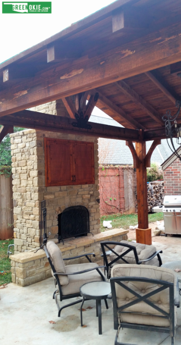 Pin By Green Okie On Outdoor Fireplace Outdoor Pergola Custom
