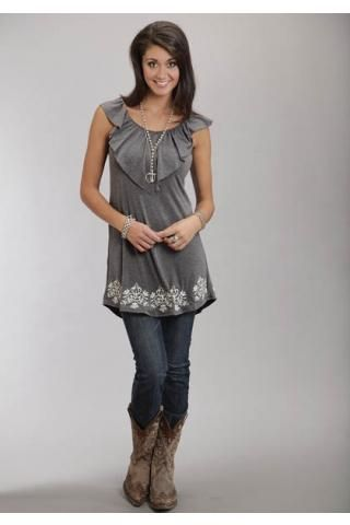 3846a08bccd Women s Grey 7843 Rayon Spandex Knit Slvls Dress Stetson Ladies Western  Clothing