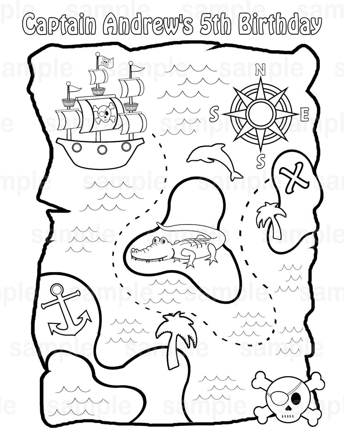 Personalized Printable Pirate Treasure Map Birthday Party Favor