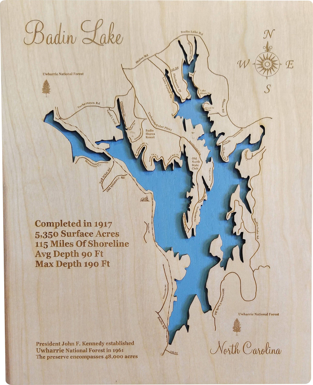 Usa Map North Carolina%0A Badin Lake  North Carolina  Wood Laser Cut Map   Laser cutting  North  carolina and Lakes