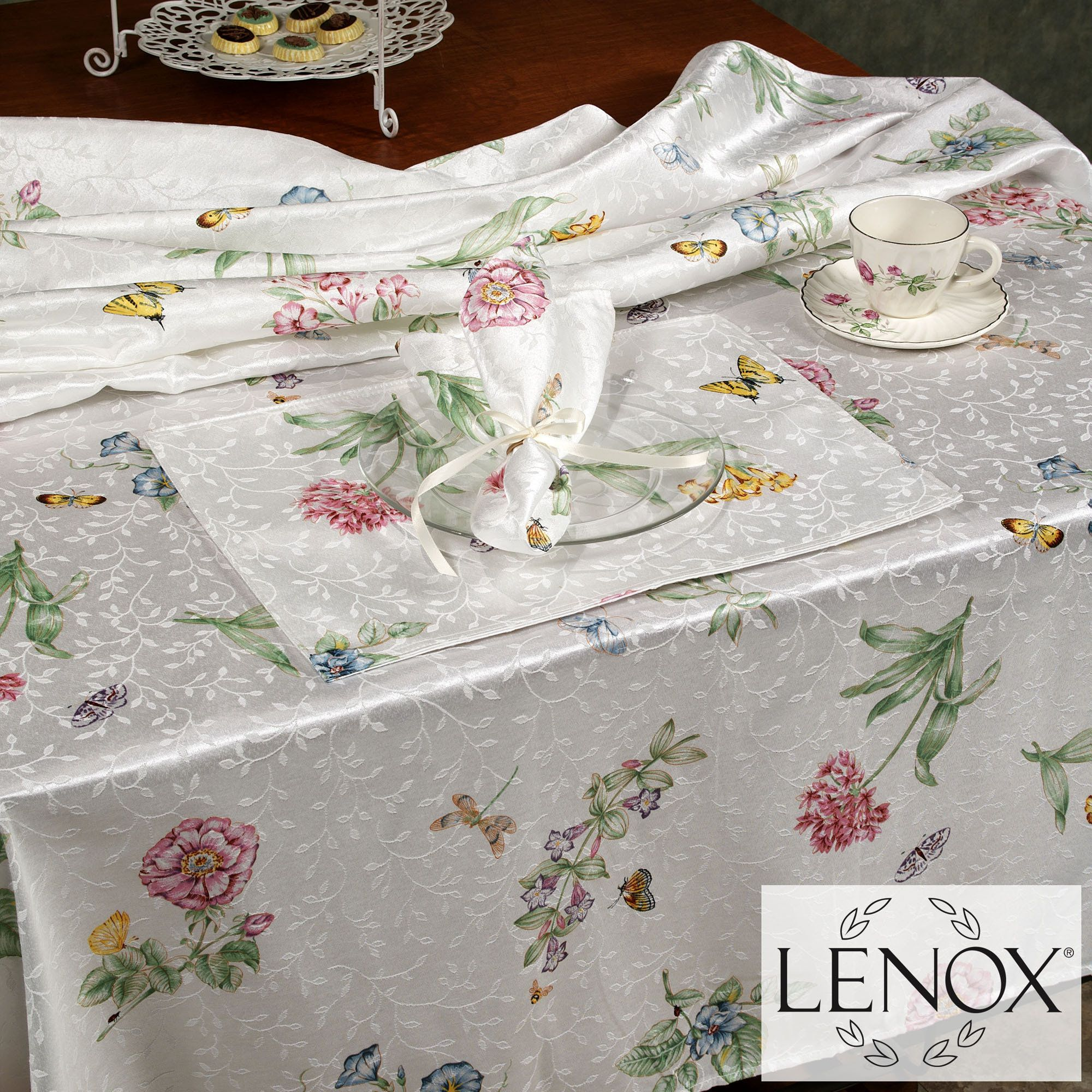 Lenox Butterfly Meadow Floral Table Linens Lenox Butterfly