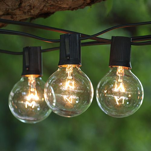 Awesome 25 Ft Black Commercial String Light With LED Premium Warm White Bulbs