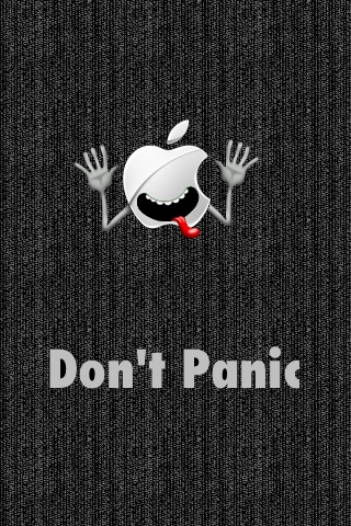 Don T Panic Apple Logo Funny Iphone Wallpaper Funny Iphone