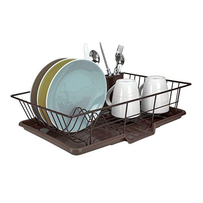 Home Basics Dd30236 Dish Drainer Set 3 Piece Bronze With Images Home Basics Dish Drainers Cutlery Holder