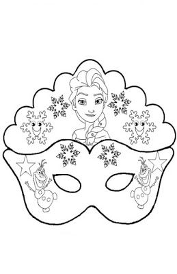 Maschera Frozen Da Colorare Maschera Maschere Bambini