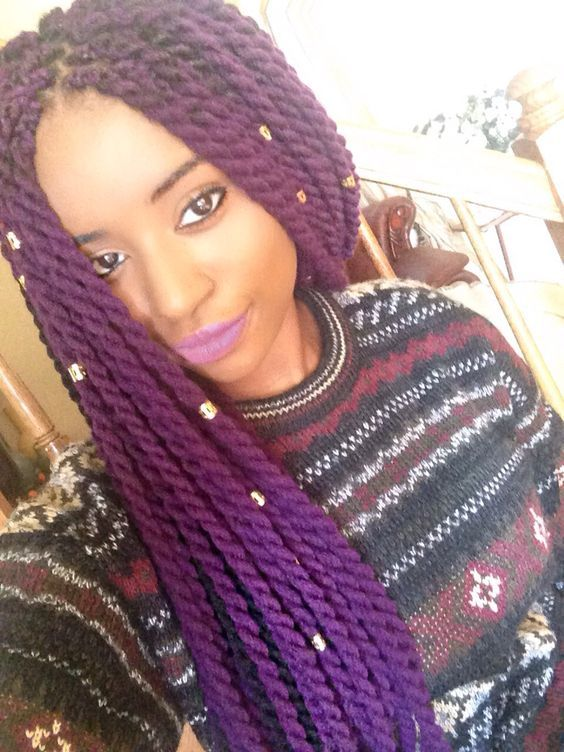 Purple Yarn Twists Protect Your Crown Braided Hairstyles Hair