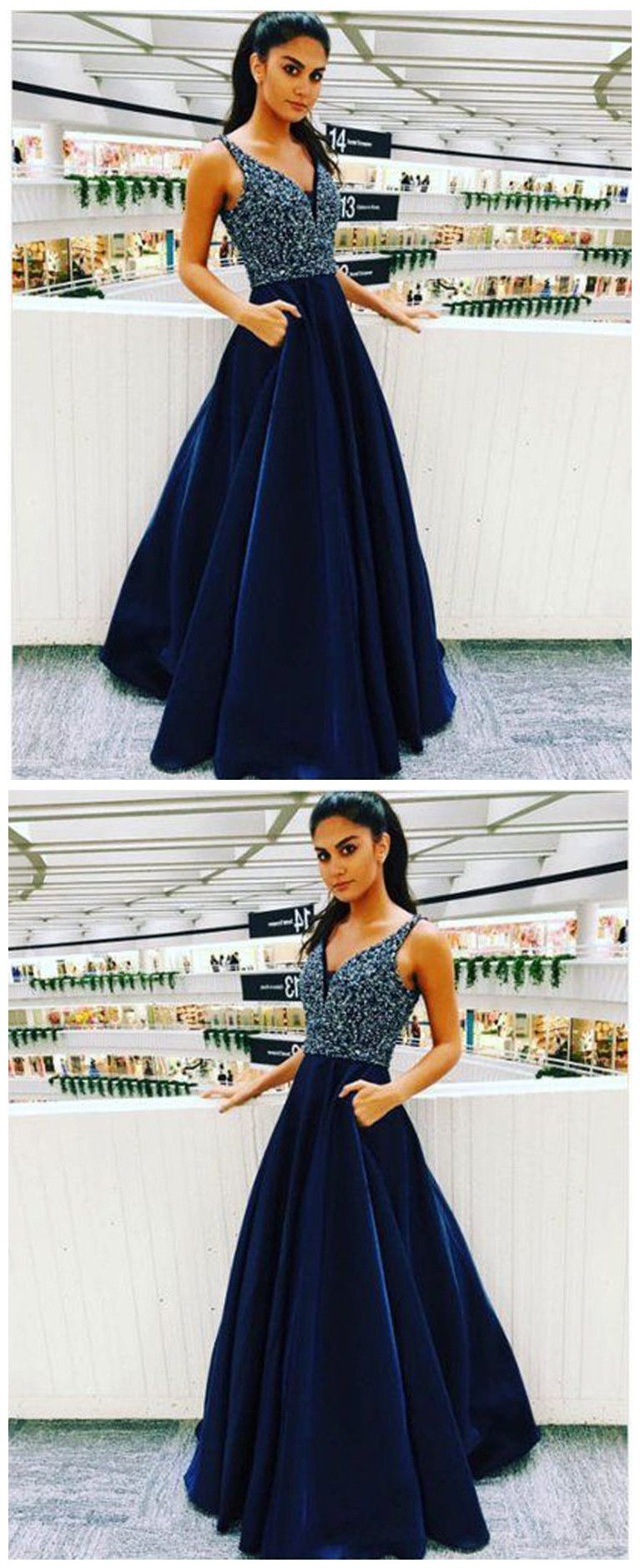 Elegant aline v neck navy blue satin long prom dresses with beaded