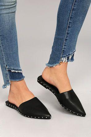 Laetitia Black Studded Loafer Slides 2