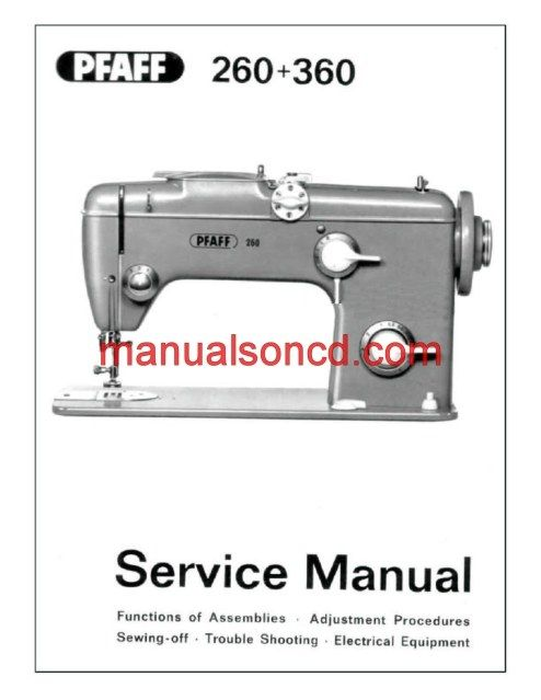Service manual for pfaff sewing machines with built in automatic embroidery mechanism 88 pages - Reparation machine a coudre pfaff ...
