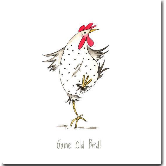 Game Old Bird! Chicken Card - Funny Birthday / Friendship Card, Blank Inside #old