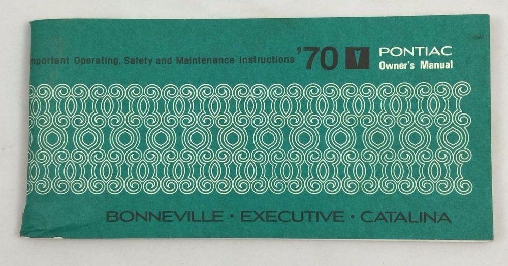 1970 PONTIAC BONNEVILLE CATALINA EXCUTIVE OWNERS MANUAL ORIGINAL - Near Mint