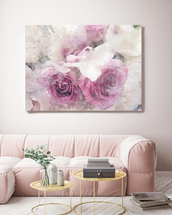 Shabby Roses 2 Floral Painting Pink Gray Rustic Watercolor Etsy In 2020 Floral Painting Canvas Art Prints Modern Wall Decor Art #rustic #paintings #for #living #room