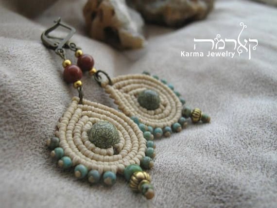 natural macrame boho earrings drop design tribal ethnic rh pinterest com