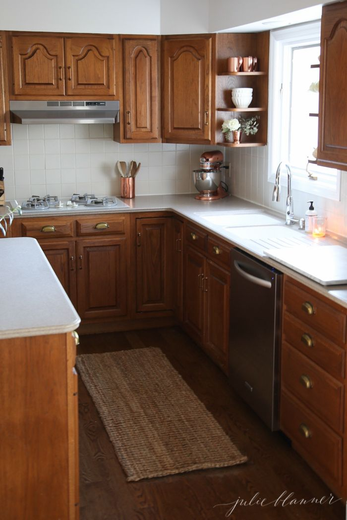 5 ideas update oak cabinets without a drop of paint dream home rh pinterest com