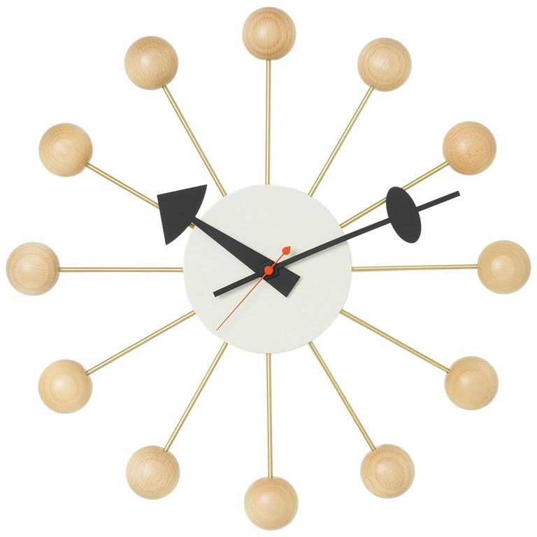 Vitra Ball Clock In Beech Wood By George Nelson Orange Wall Clocks Orange Wall Art Home Wall Art