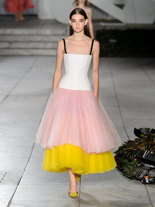 Cool Visit New Cheap Online Contrasting-tiered silk-faille dress Carolina Herrera Clearance Genuine akkgj5WG