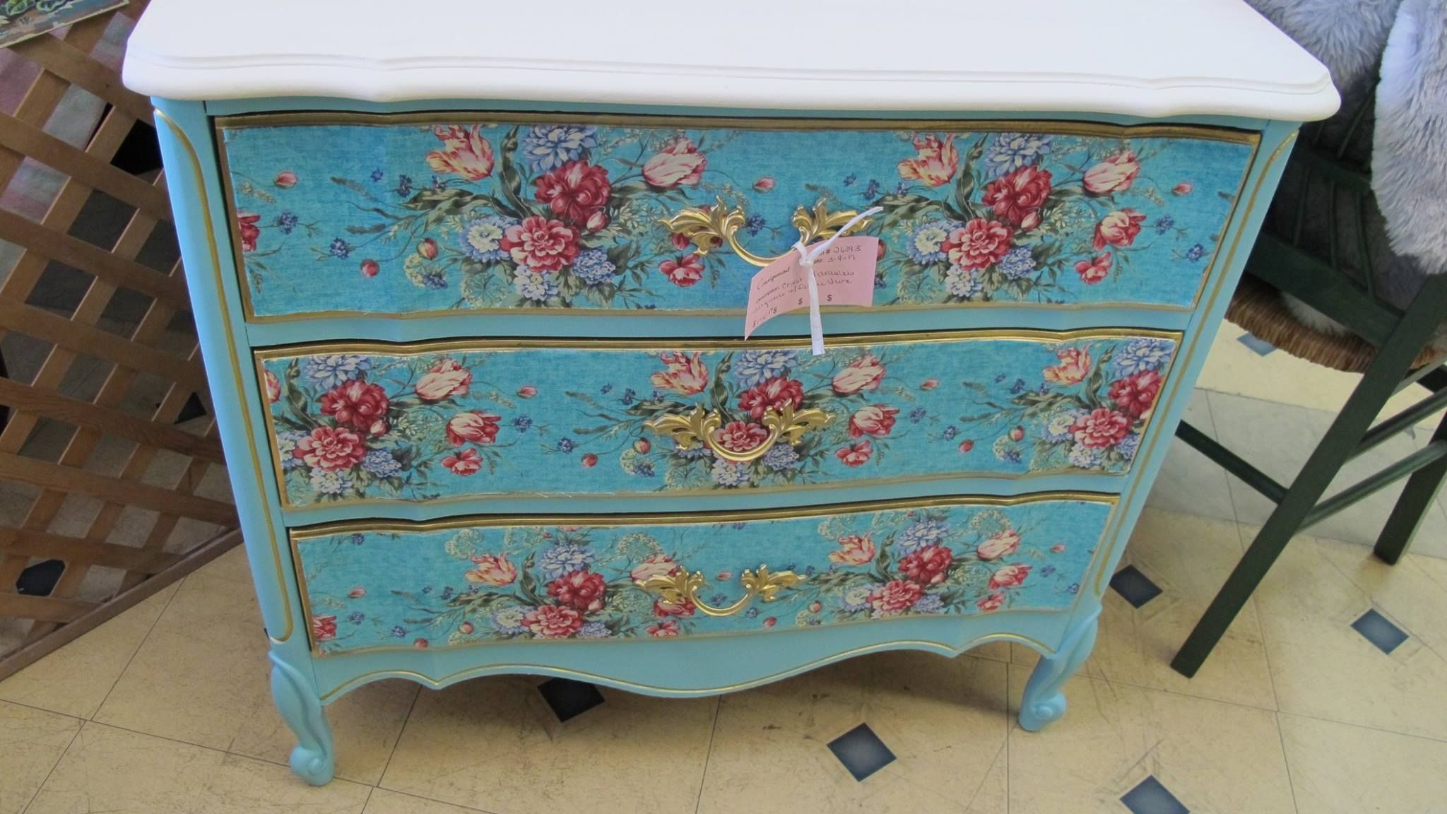 Floral Blue And Pink Flowers Dresser Painted Furniture Shabby Chic
