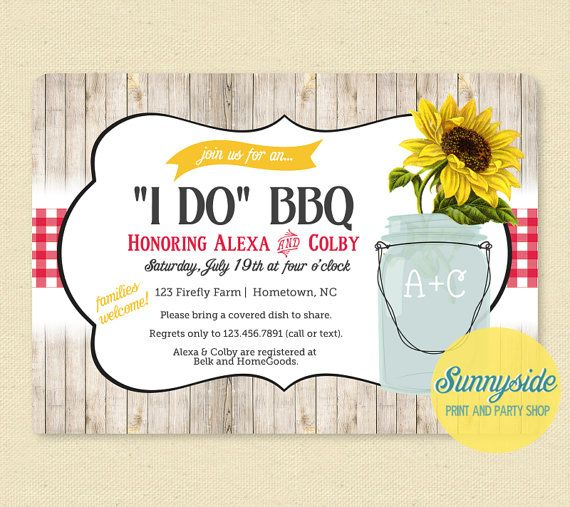 i do bbq invitation rustic shower invite couples bridal shower mason jar with sunflower picnic cookout printable red gingham invitation