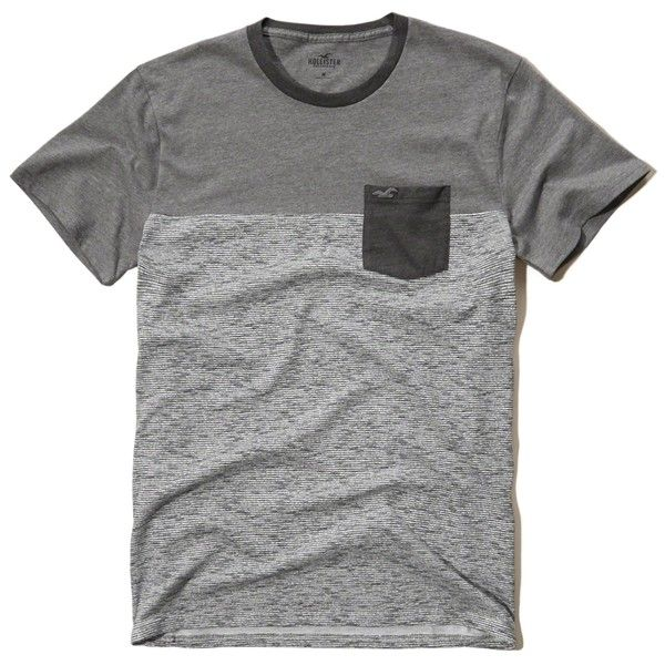 Hollister Must-Have Contrast T-Shirt (32 BRL) ❤ liked on Polyvore featuring  men's fashion, men's clothing, men's shirts, men's t-shirts, grey, mens  pocket ...