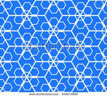 arabic pattern seamless background geometric muslim ornament backdrop yellow on blue vector illustration of islamic texture