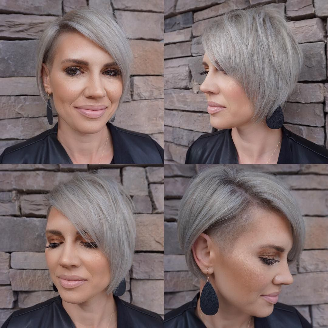 Silver Side Shave This Short Haircut Is Perfect For Fine Hair That Is Thicker Near The R Haircuts For Fine Hair Popular Short Hairstyles Short Hair Styles