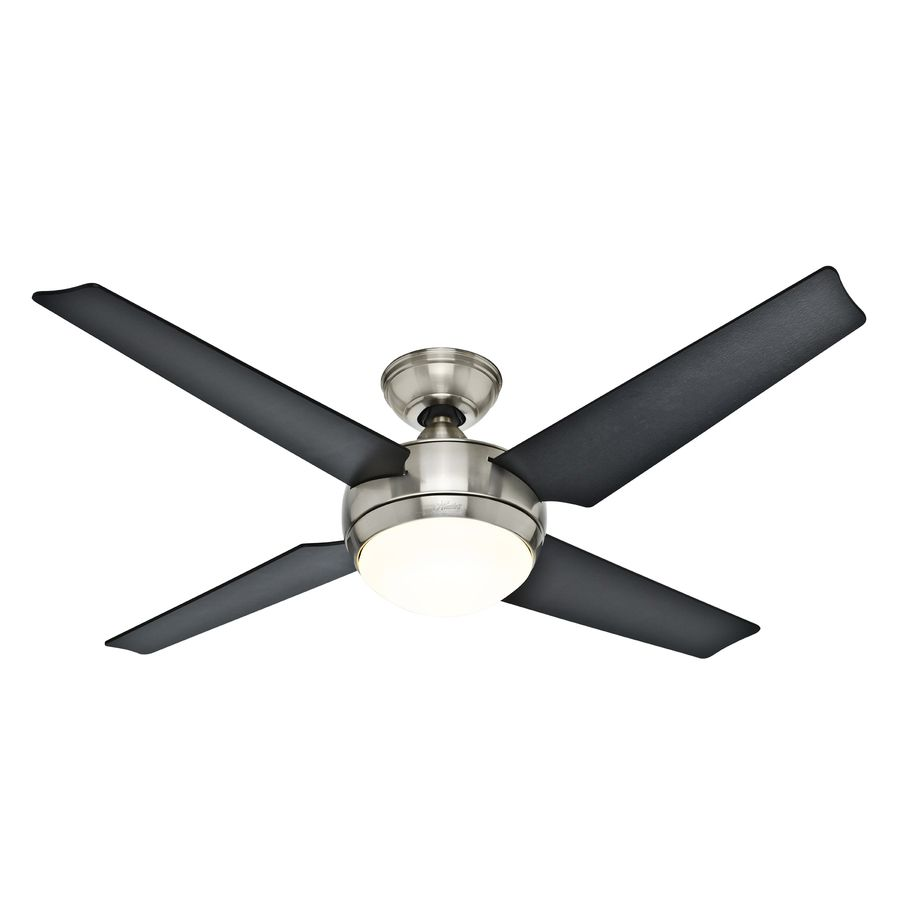 Shop Hunter Sonic 52 In Brushed Nickel Downrod Mount Ceiling Fan With Light Kit And Remote Energy Ceiling Fan With Light Ceiling Fan Brushed Nickel Ceiling Fan