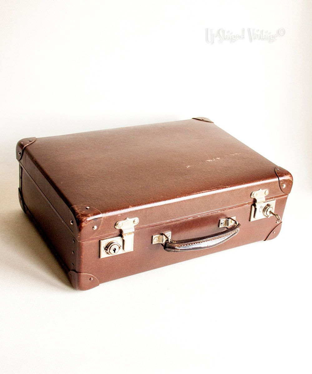 099beec89 Vintage 1950s GLOBE TROTTER Small Hard Brown Suitcase with KEY! by  UpStagedVintage on Etsy Hand