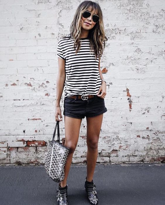 85a29590b95d4  evatornado stripped t shirt and black shorts - minimal style outfit