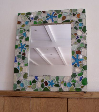 Picture Frame in Genuine Sea Glass and Mosaic Tile