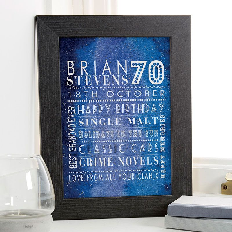 70th birthday gift for him of personalised age word art