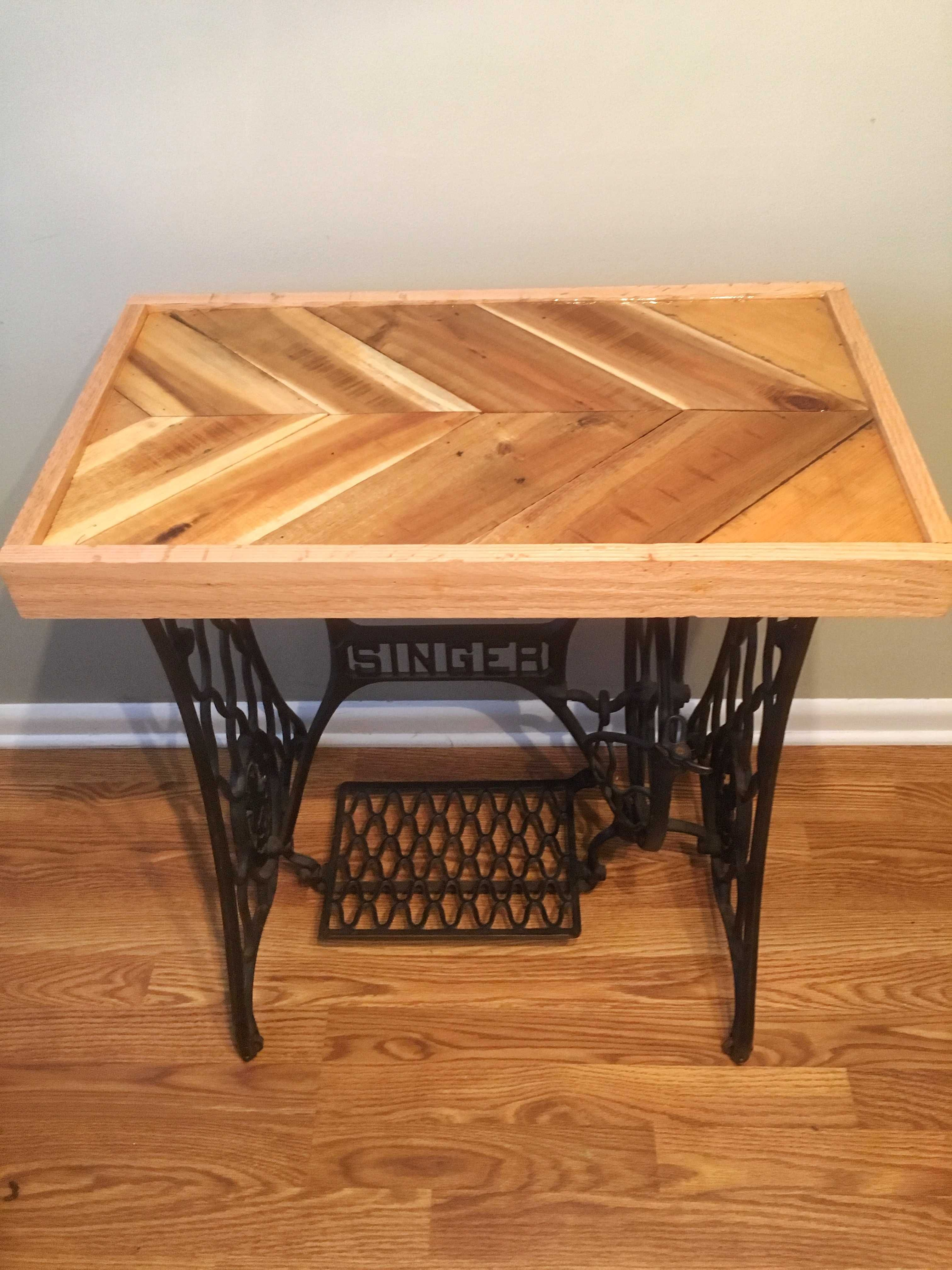 reclaimed pallet epoxy tabletop with cast iron singer base rh pinterest com