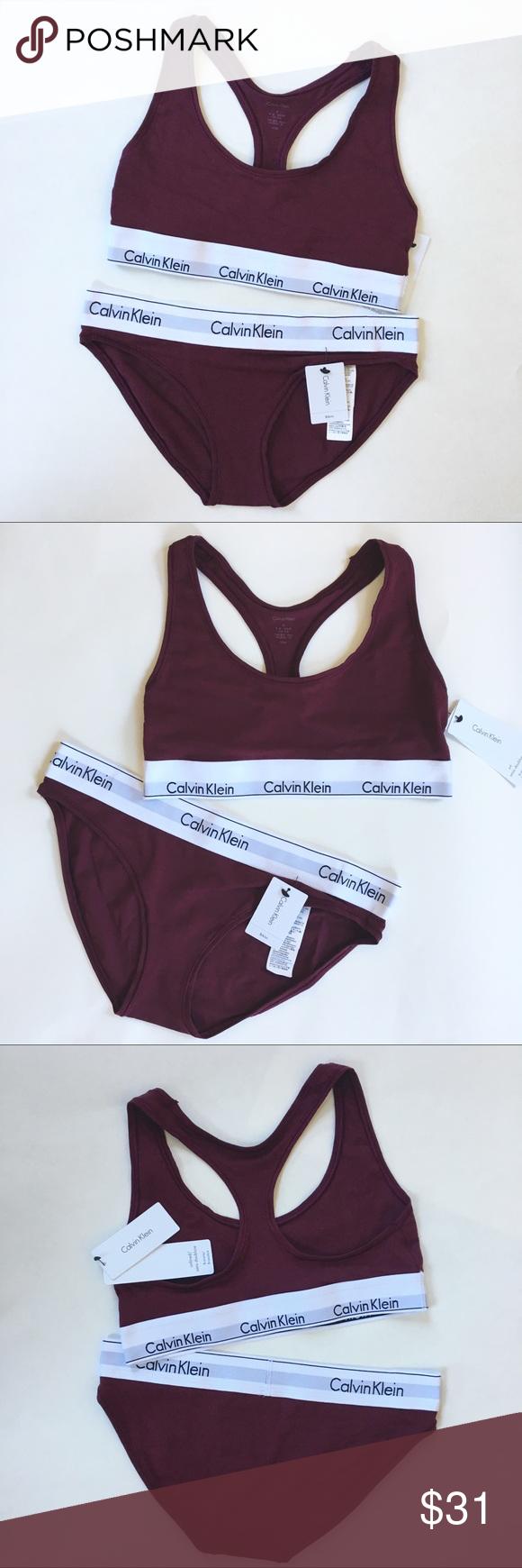 60554c0ffa42 Calvin Klein Maroon Bra & Panty Modern Cotton Set Free Shipping 📦💕 Brand  new with