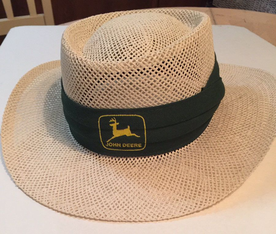 d4bc36279 Vtg John Deere Wide Brim Classic Straw Hat with Green Band with John ...