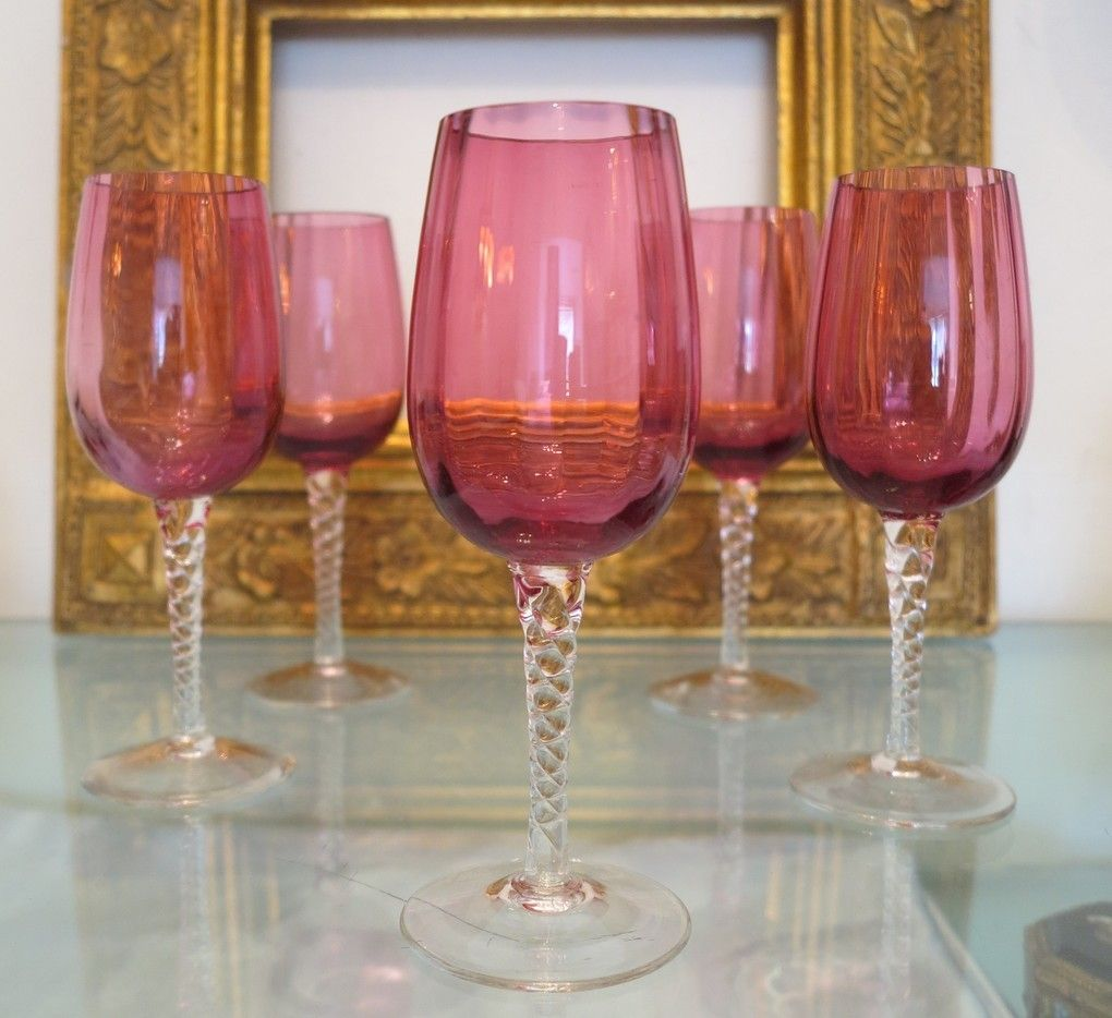 Set Of Five Bohemian Cranberry And Crystal Wine Glasses Ca 1910 1920 Crystal Wine Glasses Crystals Wine Glasses