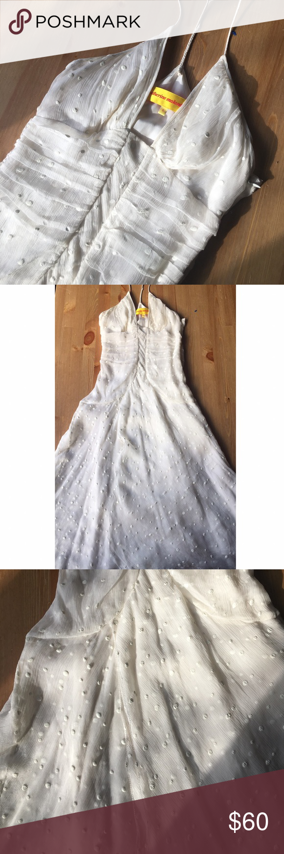 Catherine malandrino white dot halter dress catherine malandrino