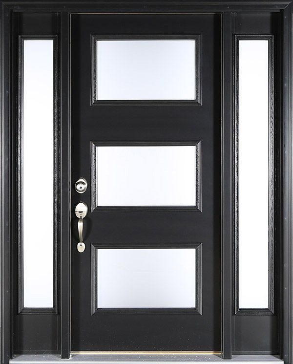 Contemporary Black Front Door Clopay Energy Star Smooth